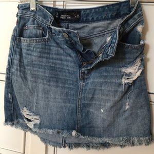 hollister ripped denim skirt